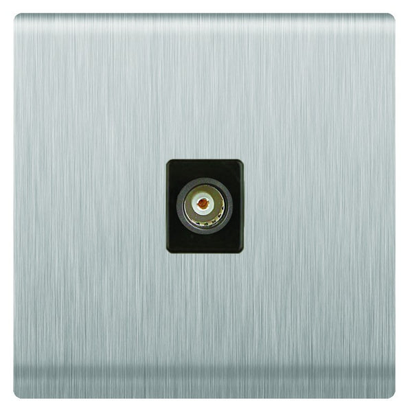 TV SOCKET S/STEEL FOR 3X3 BOX