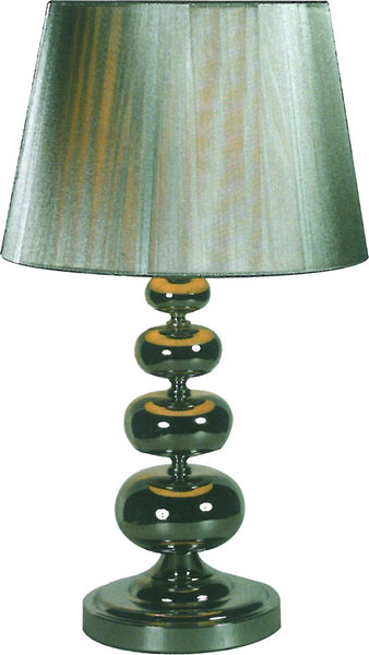 230VAC 40W 1XE27 TABLE LAMP AND SHADE SILVER