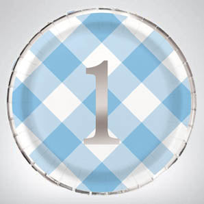 Blue Gingham 1st Birthday