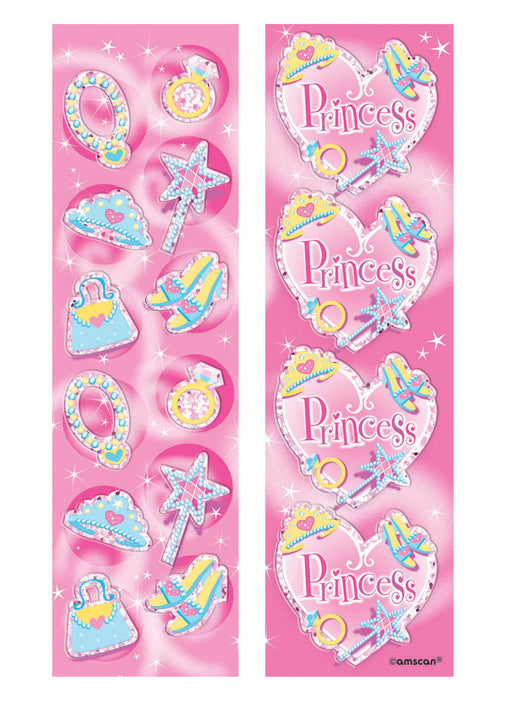 Princess Party Sticker Strips 8pk