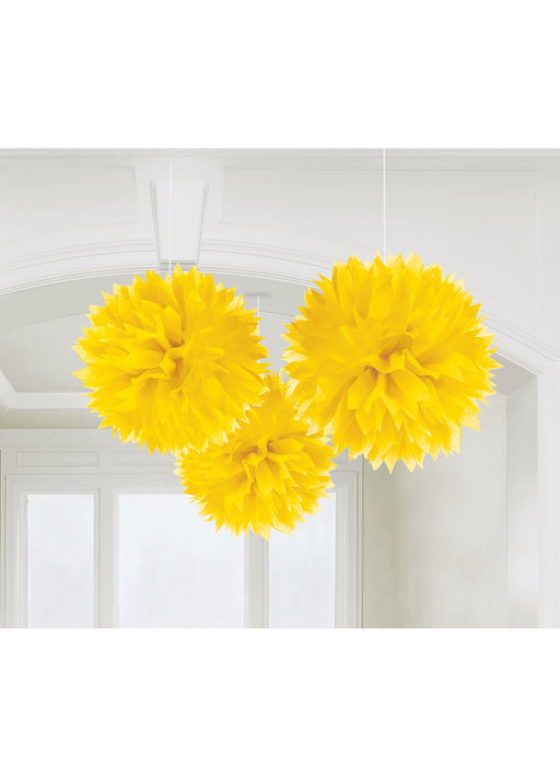 Yellow Fluffy Hanging Decorations 3pk