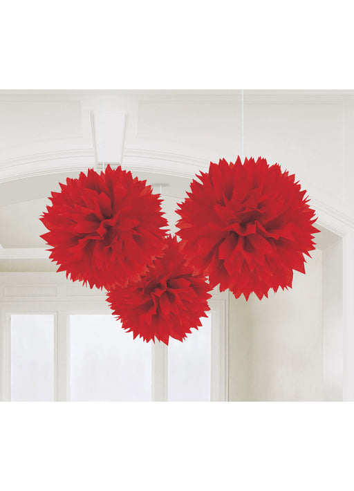 Red Fluffy Hanging Decorations 3pk
