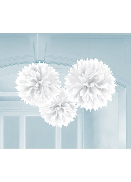 White Fluffy Hanging Decorations 3pk