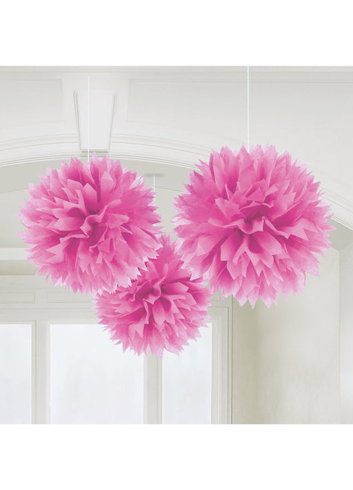 Pink Fluffy Hanging Decorations 3pk