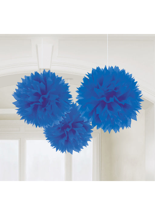 Royal Blue Fluffy Hanging Decorations 3pk