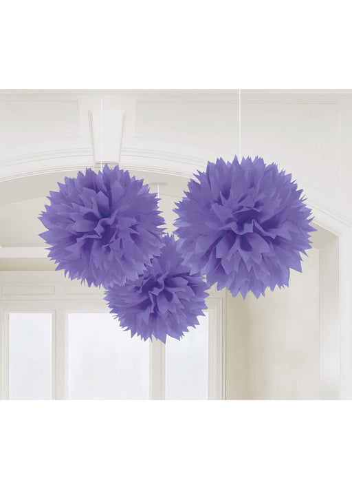 Purple Fluffy Hanging Decorations 3pk
