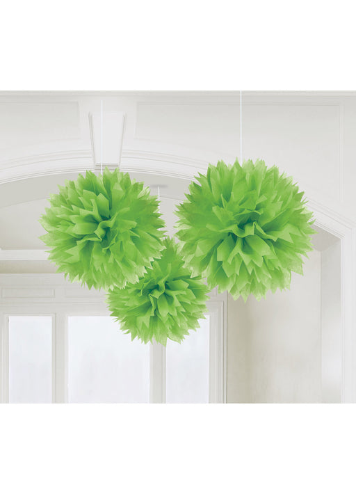 Green Fluffy Hanging Decorations 3pk