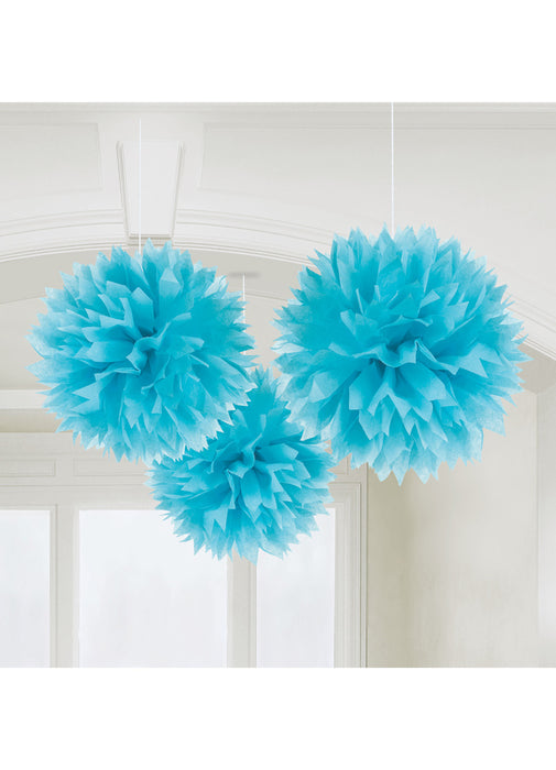 Blue Fluffy Hanging Decorations 3pk