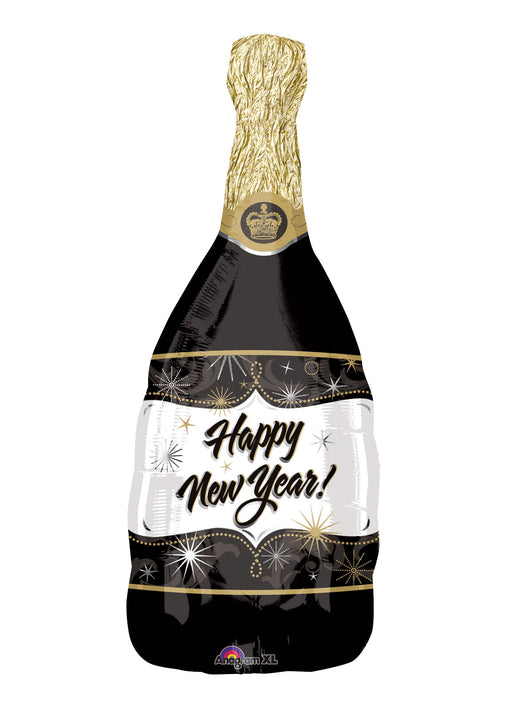 New Year Champagne Bottle SuperShape Foil Balloon