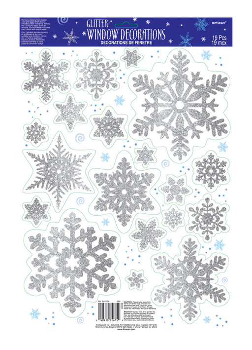 Glitter Snowflake Window Decorations 19pk