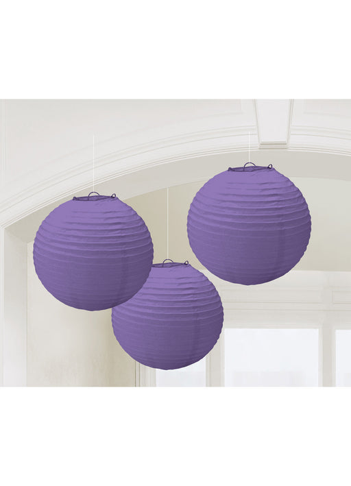 Purple Round Paper Lanterns 3pk