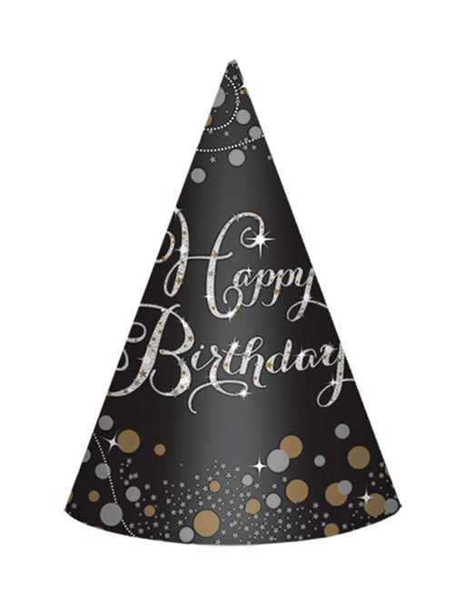 Gold Celebration Birthday Cone Hats