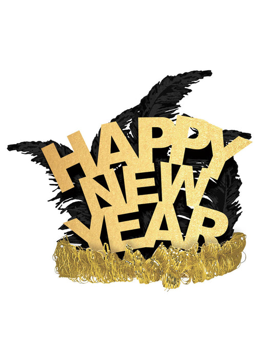 5ft Giant Happy New Year Banner Scene Setter Party Decoration Black Gold Silver