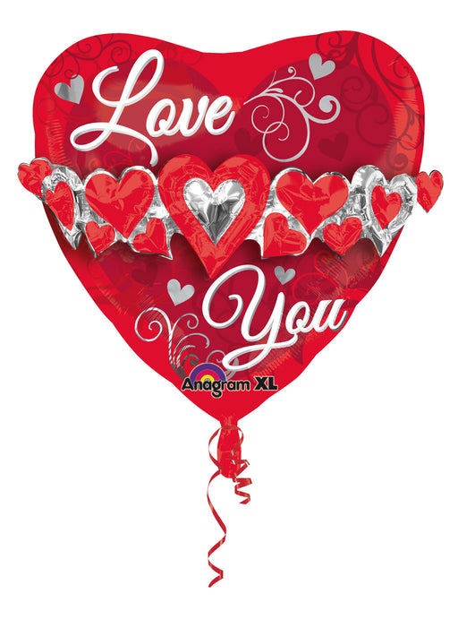 Love You Heart SuperShape Foil Balloon