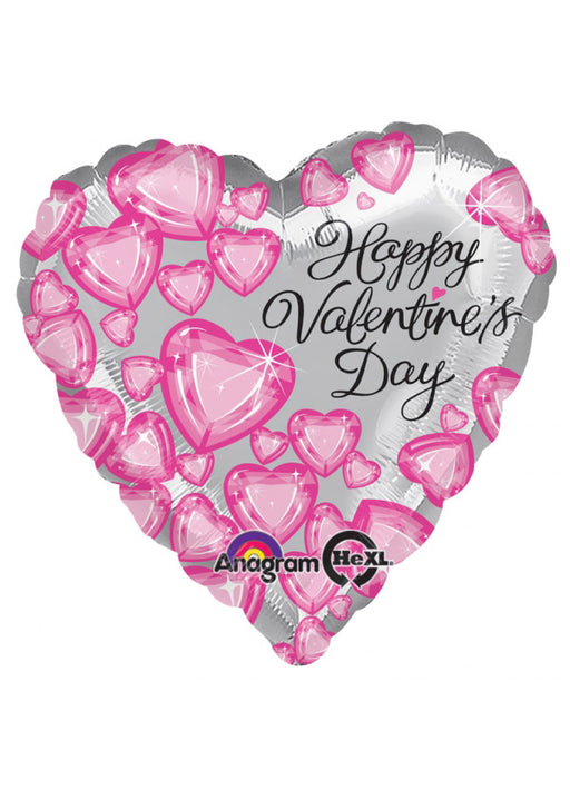 Valentine's Day Silver Heart Foil Balloon