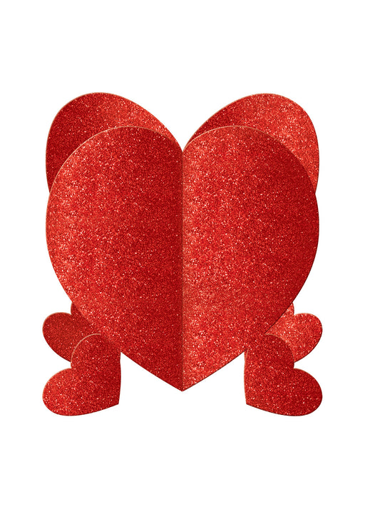 Glitter Hearts 3D Table Centrepieces 3pk