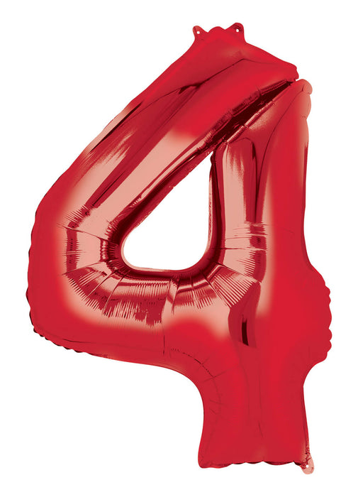 Number 4 Red SuperShape Foil Balloon