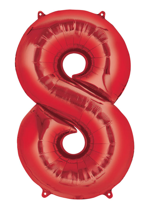 Number 8 Red SuperShape Foil Balloon
