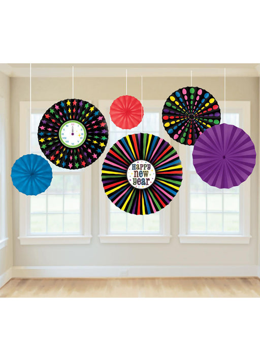 New Years Paper Fan Decorations 6pk