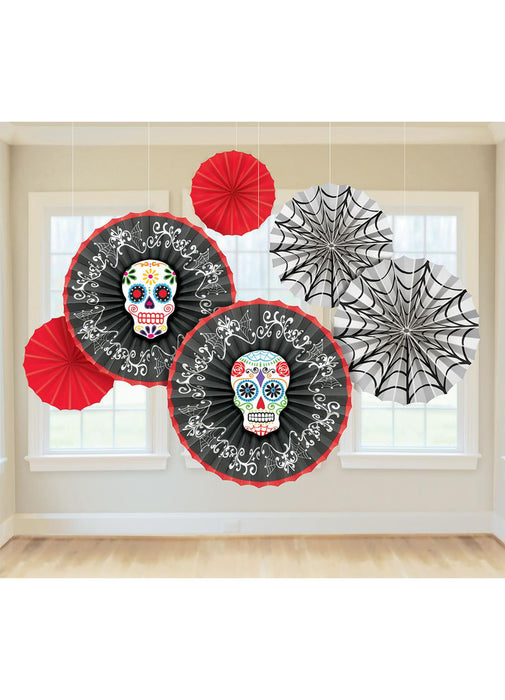 Day Of The Dead Paper Fan Decorations 6pk