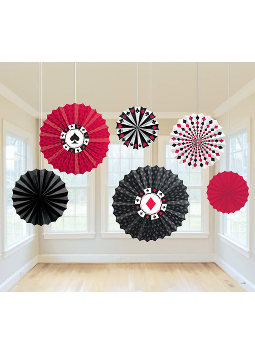 Casino Paper Fan Decorations 6pk