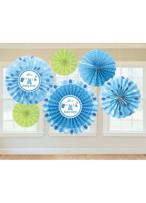 With Love Boy Paper Fan Decorations 6pk