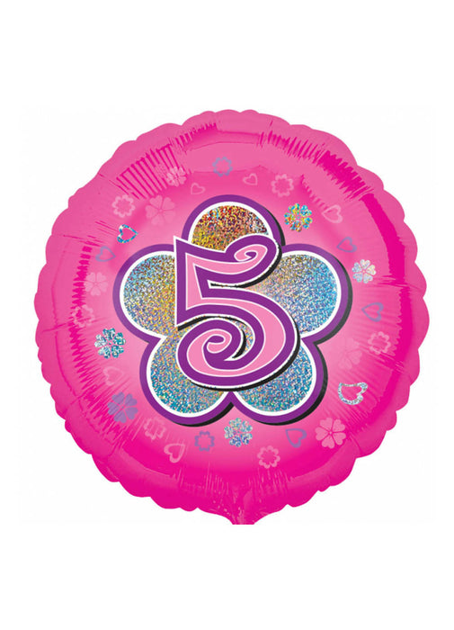 Pink Age 5 Holographic Foil Balloon