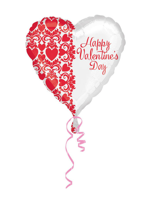 Happy Valentines Day White Heart Foil Balloon