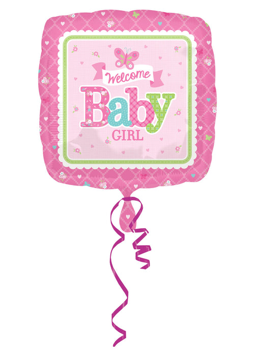Welcome Baby Girl Foil Balloon