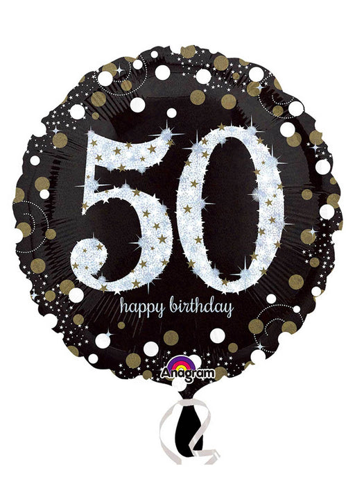 Gold Sparkle 50th Birthday Balloon
