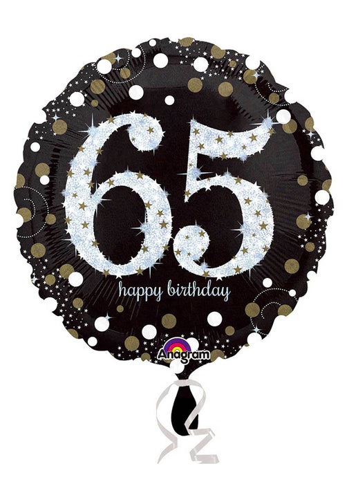 Gold Sparkle 65th Birthday Balloon