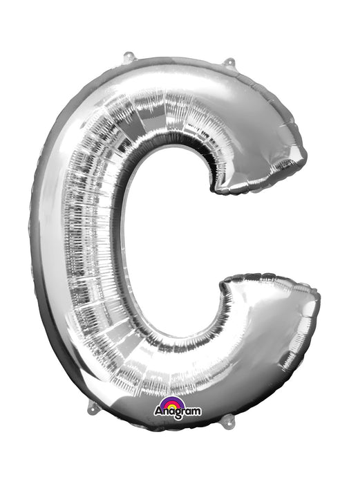 Letter C Silver Air Filled Balloon