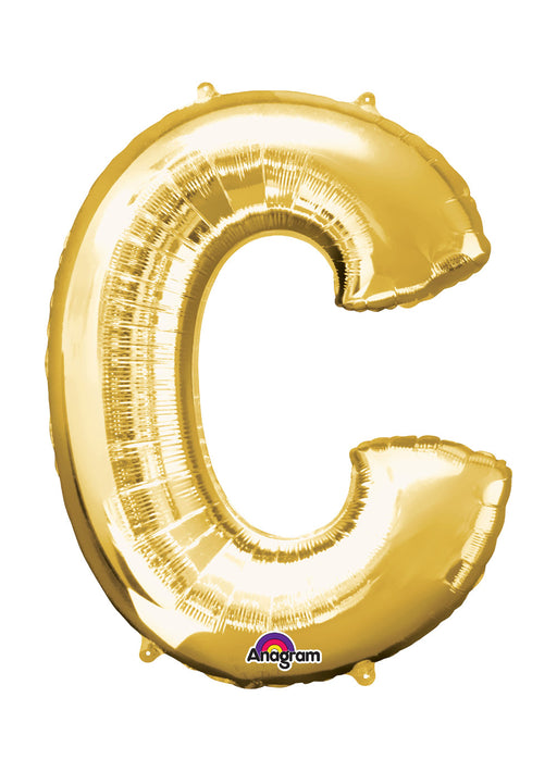 Letter C Gold Air Filled Balloon