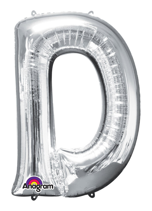 Letter D Silver Air Filled Balloon