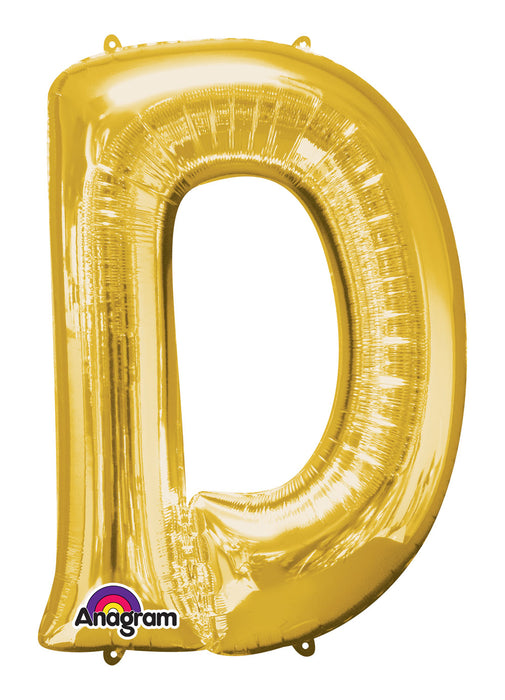 Letter D Gold Air Filled Balloon