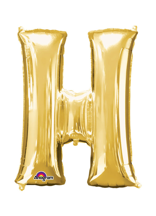Letter H Gold Air Filled Balloon
