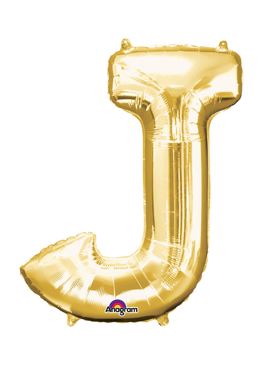 Letter J Gold Air Filled Balloon