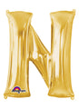 Letter N Gold Air Filled Balloon