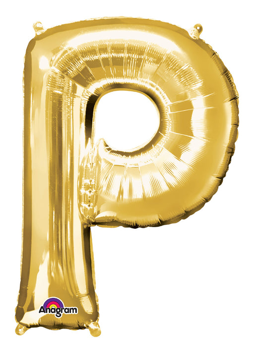 Letter P Gold Air Filled Balloon