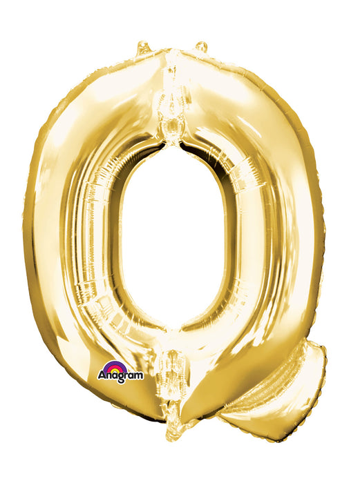 Letter Q Gold Air Filled Balloon