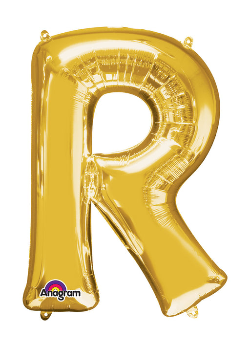 Letter R Gold Air Filled Balloon