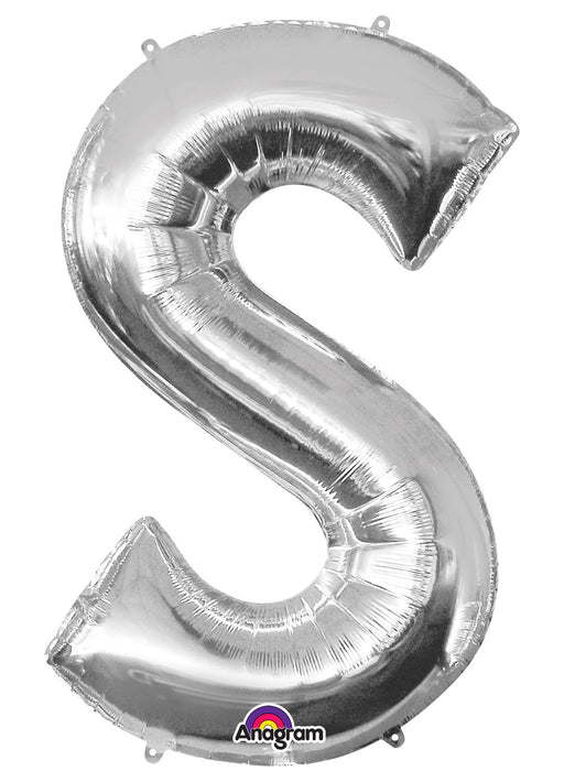 Letter S Silver Air Filled Balloon