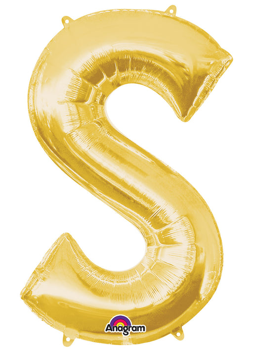 Letter S Gold Air Filled Balloon