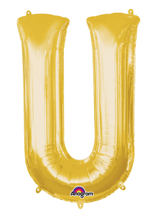 Letter U Gold Air Filled Balloon