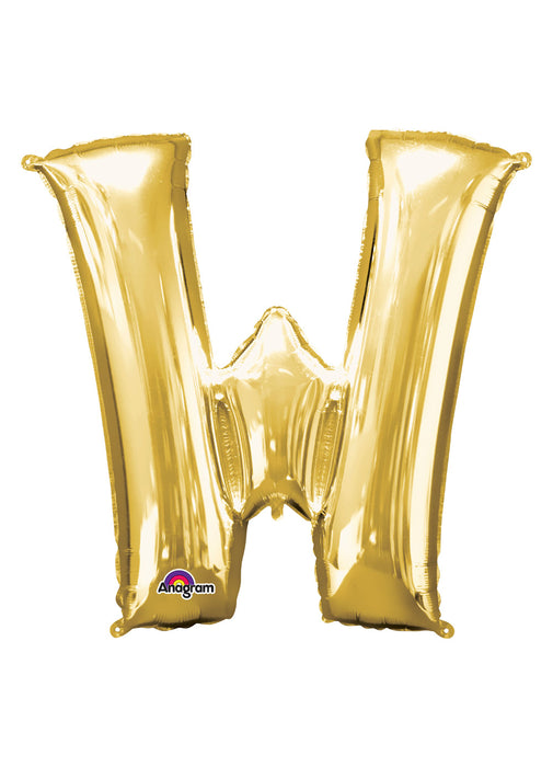 Letter W Gold Air Filled Balloon