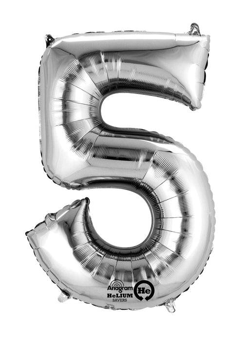 Number 5 Silver Air Filled Balloon