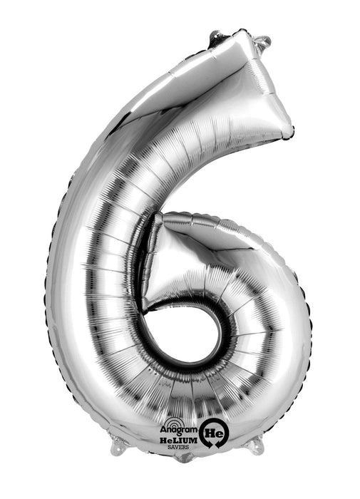 Number 6 Silver Air Filled Balloon