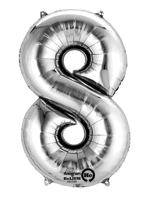 Number 8 Silver Air Filled Balloon