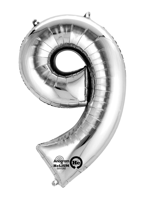 Number 9 Silver Air Filled Balloon