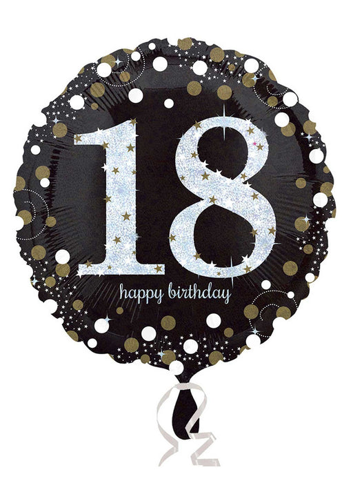 Gold Sparkle 18th Birthday Balloon